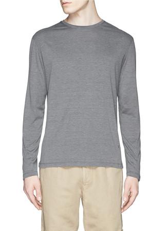 Silk-cotton crew neck long sleeve T-shirt