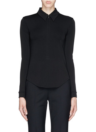 'Siox' crepe jersey zip up shirt