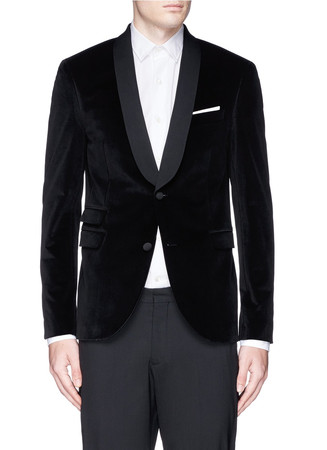 Skinny fit velvet tuxedo blazer