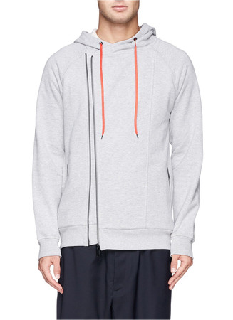 Skull appliqué asymmetric zip hoodie