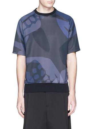 Skull camouflage print short sleeve sweatshirt