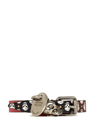 Skull charm leather bracelet