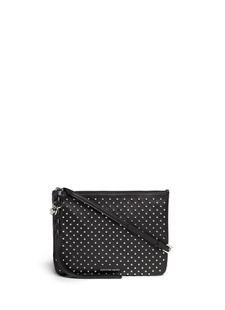 Skull charm stud leather flat crossbody bag