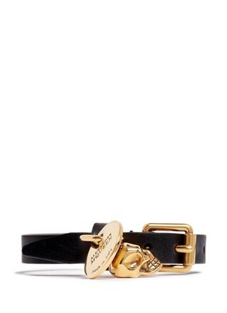 Skull charm wrap leather bracelet