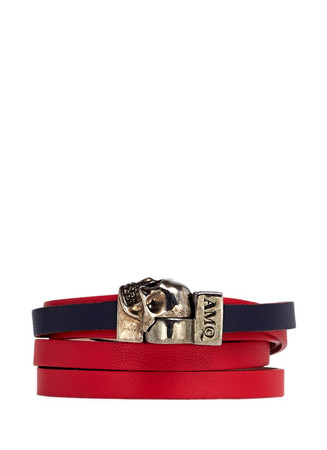 Skull double wrap colourblock leather bracelet
