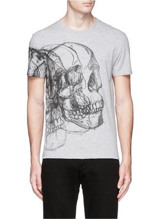 Skull sketch print T-shirt