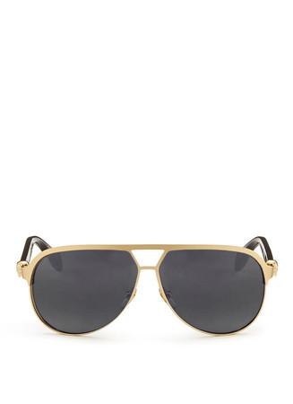 Skull stud metal rim aviator sunglasses
