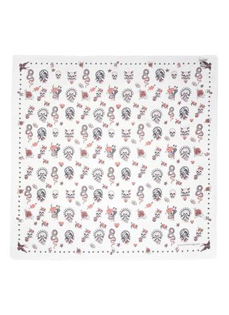 Skull tattoo modal-silk scarf