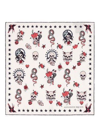 Skull tattoo silk twill scarf
