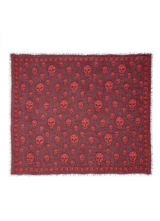 Skull-printed silk-modal scarf