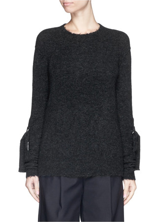 Sleeve strap wool-yak blend sweater