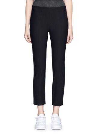Slim fit cotton blend pants