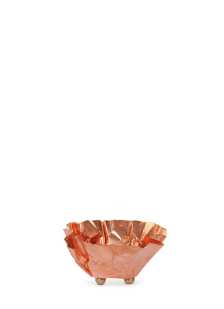 Small crinkle copper tealight candleholder