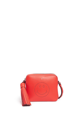 'Smiley' perforated leather crossbody bag
