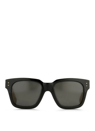 Snakeskin temple chunky angular sunglasses
