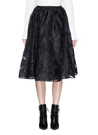 'Sofia' rose fil coupé silk organza midi skirt