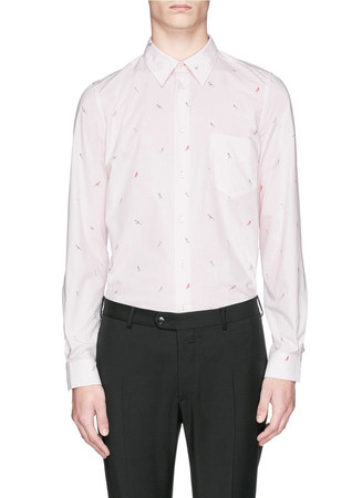 'Soho' bird print cotton poplin shirt