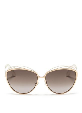 'Songe' rubber twist brow bar metal sunglasses