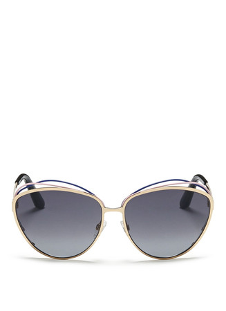 'Songe' rubber twist brow bar metal sunglasses