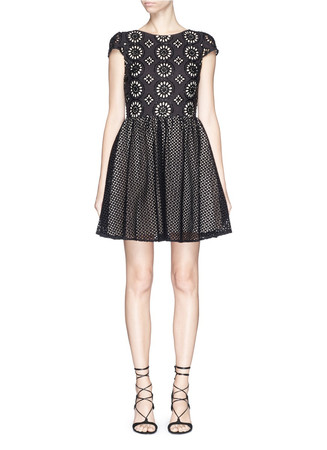 'Sonny' embroidered eyelet lace flare dress