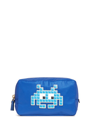 'Space Invaders' leather character reflective nylon cosmetics pouch