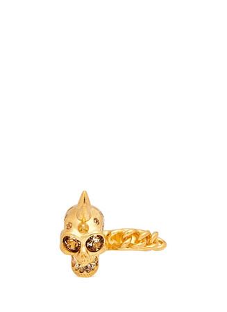 Spike skull chain two finger ring