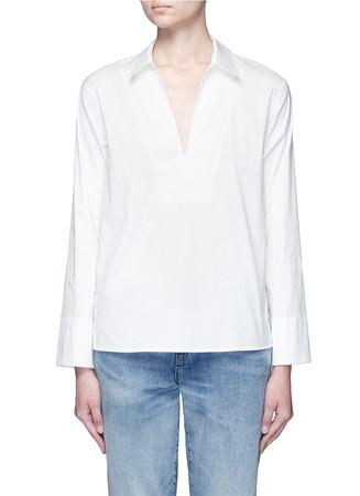 Split neck poplin shirt