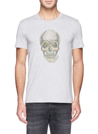 Spot skull embroidery T-shirt
