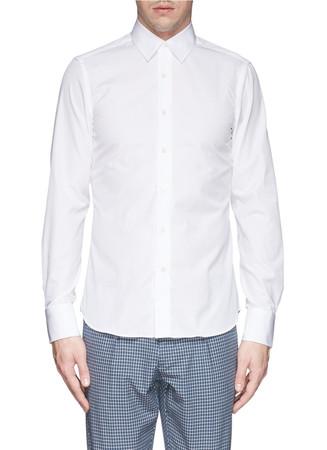 Spread collar cotton poplin shirt