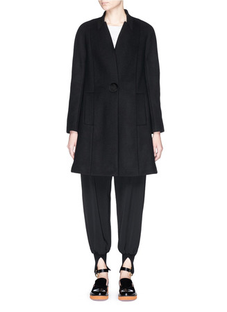 Stand collar wool Melton coat