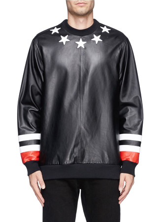Star and stripe leather front sweatshirt