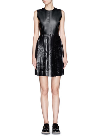 Star embossed pleat faux leather dress
