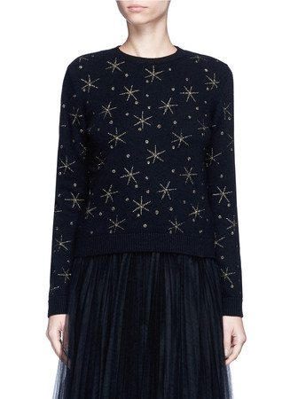 Star embroidered virgin wool-cashmere sweater
