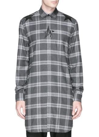 Star print tartan long shirt