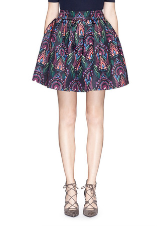 'Stora' deco print box pleat pouf skirt
