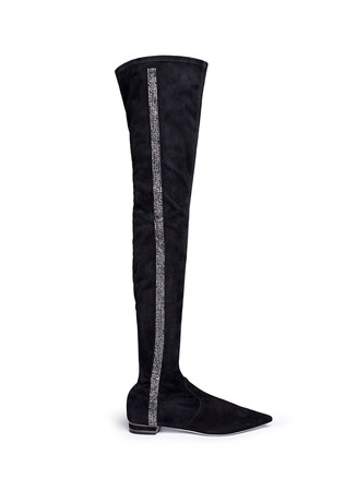 Strass pavé stripe suede boots