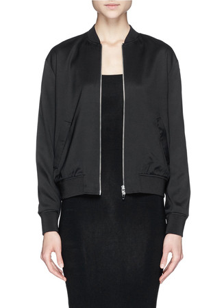Stretch silk twill bomber jacket