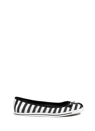 Stripe canvas mouse ballerina flats
