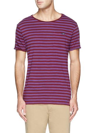 Stripe garment dye T-shirt