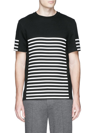 Stripe gel print sweatshirt jersey T-shirt