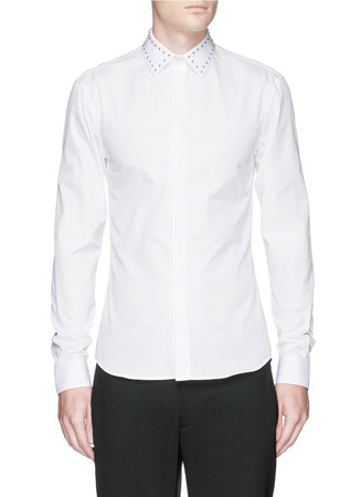 Stud collar cotton poplin shirt