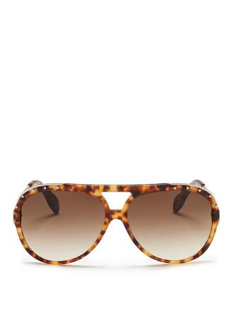 Stud rim tortoiseshell aviator sunglasses