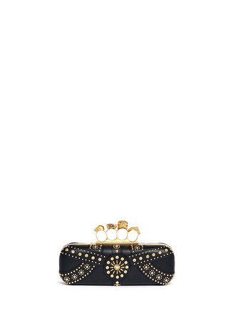 Stud skull leather knuckle clutch