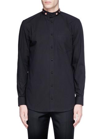 Studded Mandarin collar poplin shirt