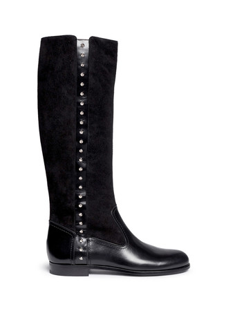 Suede shaft stud leather boots