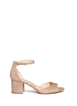 'Susie' block heel ankle strap suede sandals