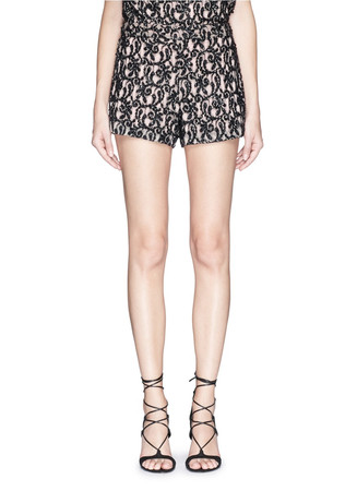Swirl bead appliqué high waist shorts