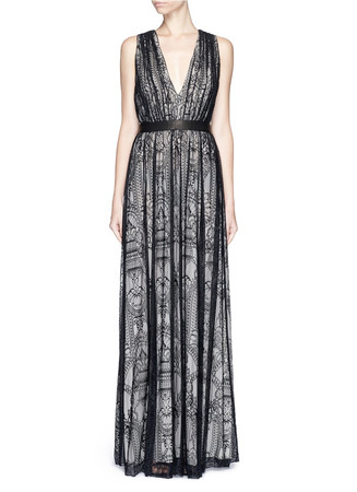 'Sybil' plunge V-neck lace maxi dress