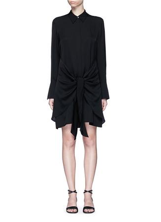'Talbilla' tie front silk shirt dress