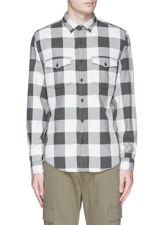 Tall herringbone flannel shirt in buffalo check